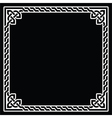 Celtic frame border white pattern on black vector image