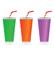glass of juice with a straw color vector image