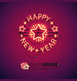 happy new year red neon sign vector image