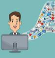 man digital marketing web site social network vector image