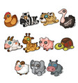 set of soft toys from different animals and birds vector image