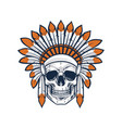 skull of native indian american warrior vector image
