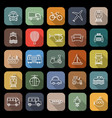 transportation line flat icons with long shadow vector image