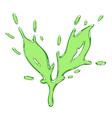 The tea leaf drawn liquid green splash vector image vector image
