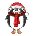 color crayon stripe cartoon of penguin with boots vector image
