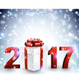 2017 New Year background with gift vector image