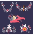 Colorful Christmas banners and laurels with vector image