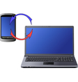 laptop and cellphone vector image vector image