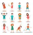 Children doing sports flat vector image