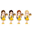 cute little girls with honey jar vector image