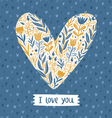 Floral heart love card vector image