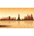 New York city skyline detailed silhouette vector image
