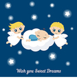 Angels with stars and baby sleeping on the cloud vector image