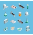 Pharmaceutical Production Icons Set vector image