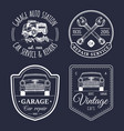 Garage logos set car repair emblems collection vector image