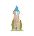 old stone tower with blue pennant ancient vector image