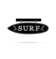 surf icon on signboard in black and white color vector image