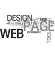 Web page design tool text word cloud concept vector image
