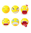 yellow head face cartoon emotion vector image