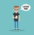 young nerd holding a carton of lactose free milk vector image
