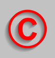 copyright sign   red icon with vector image