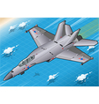 Isometric Fighter Bomber in Flight in Front View vector image vector image