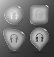Headphones Glass buttons vector image