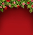 Christmas Framework with Fir Twigs and Glass Balls vector image vector image