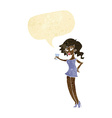cartoon woman at party with speech bubble vector image