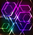 Abstract glowing background with hexagons vector image