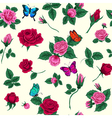Floral Seamless Pattern Flowers and Butterflies vector image
