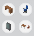 isometric design set of office table sideboard vector image