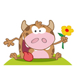 Happy Calf With Flower vector image