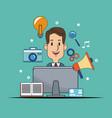 man digital marketing advertising work vector image