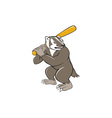 Badger Baseball Player Batting Isolated Cartoon vector image vector image
