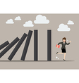 Business woman run away from domino effect vector image