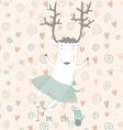 Card with cute deer vector image