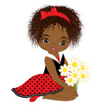 cute little african american girl vector image