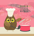 cute owl with a bawl vector image