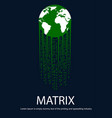 earth with tail in the form of matrix vector image