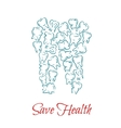 Teeth with disease forming tooth vector image