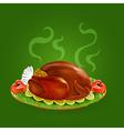 stuffed turkey with salad vector image