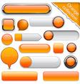 Orange high-detailed modern buttons vector image