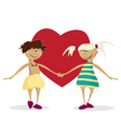 boy and the girl against heart valentines day vector image