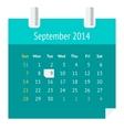 Flat calendar page for September 2014 vector image