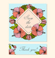 set of cards with hibiscus floral motifs vector image