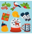 set of winter color vector image