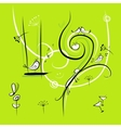 Green background with funny birds for your design vector image vector image