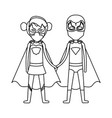 monochrome contour faceless of duo of superheroes vector image