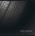 dark background with tire tracks marks vector image